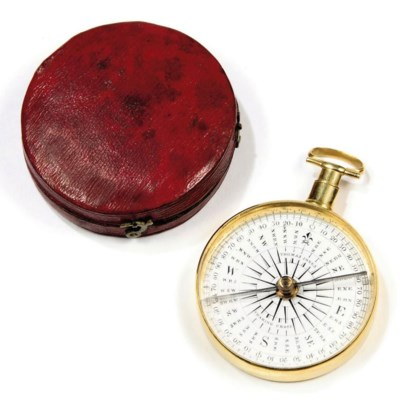 A GILT ENGLISH POCKET COMPASS