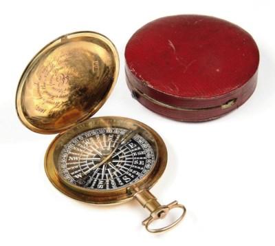 A GOLD ENGLISH POCKET COMPASS
