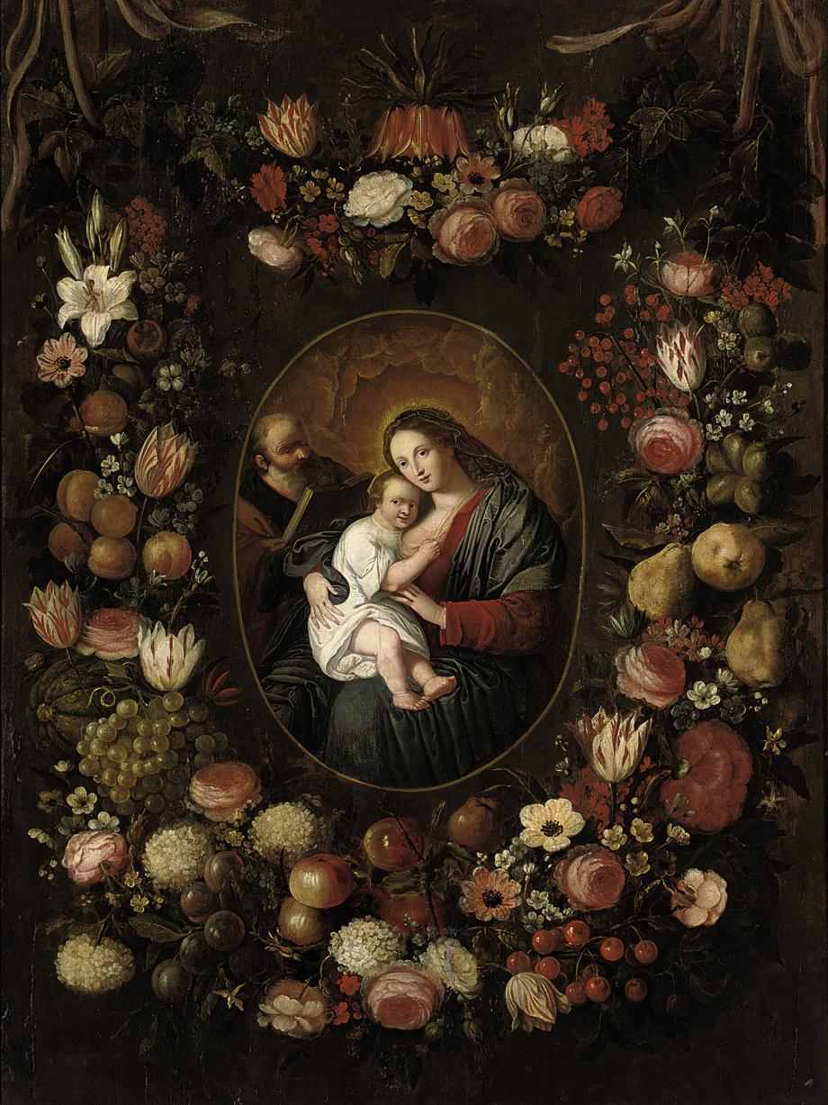 The Holy Family, surrounded by garlands of roses, lilies, tulips and other flowers, apricots, grapes, plums, apples, cherries, pears and other fruits