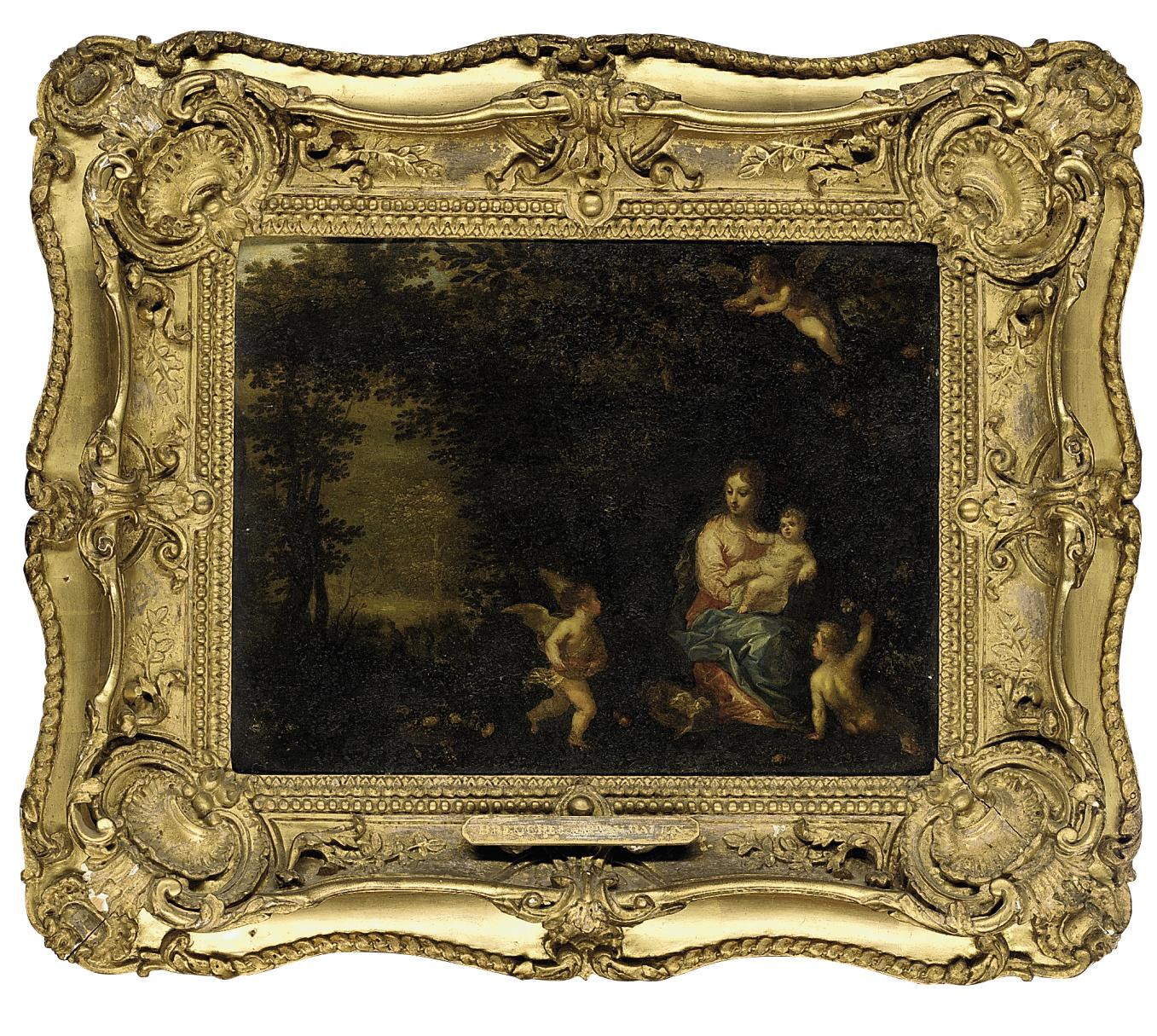 The Virgin and Child in a wooded landscape attended by putti