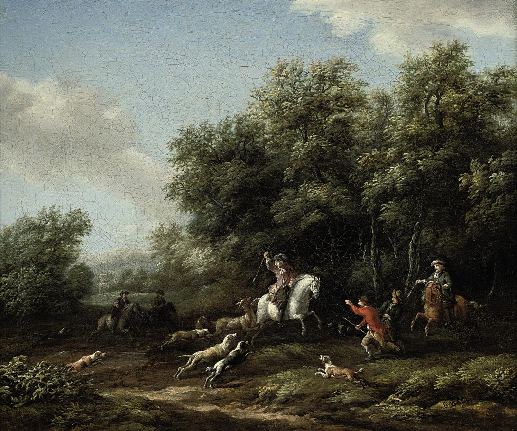 A wooded landscape with a stag hunt