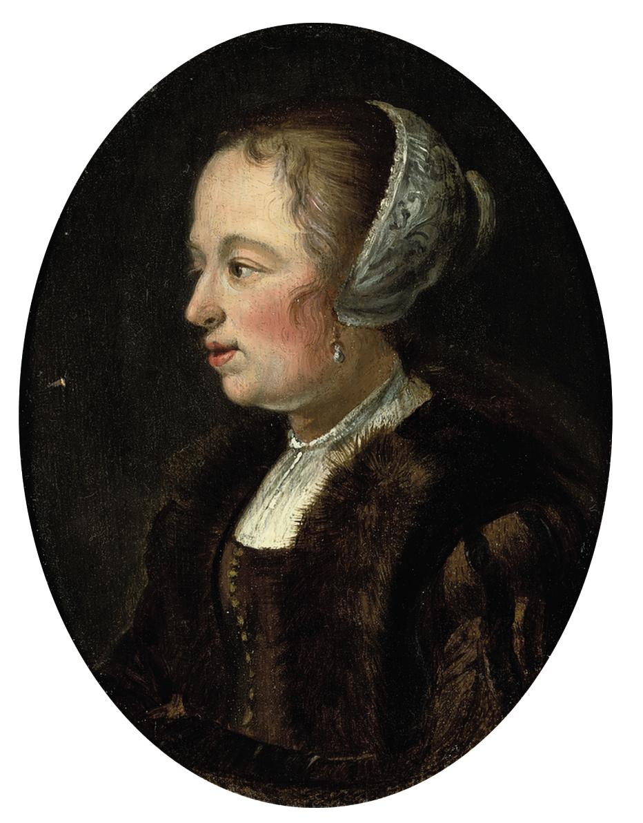 Portrait of a lady, half-length, in a brown dress with a fur-trimmed coat and lace cap