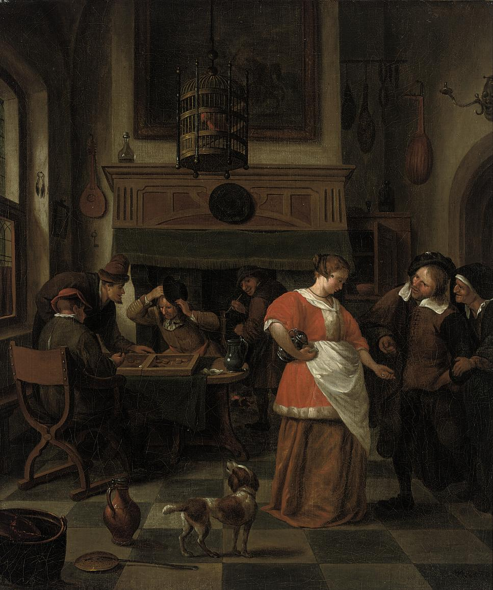 A tavern interior with figures playing a game and a dog