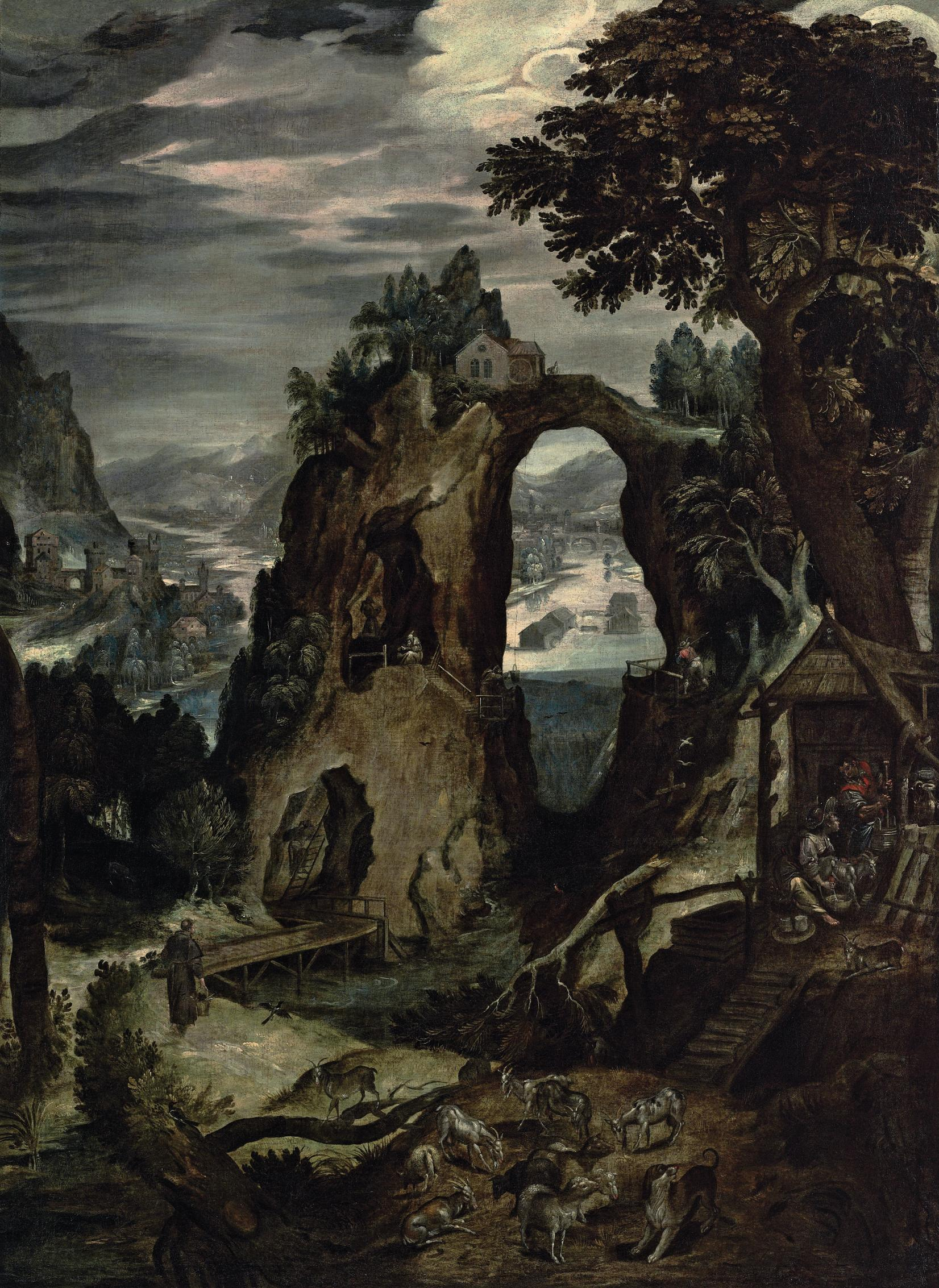 A river landscape with a North Italian city, possibly Verona, in the distance