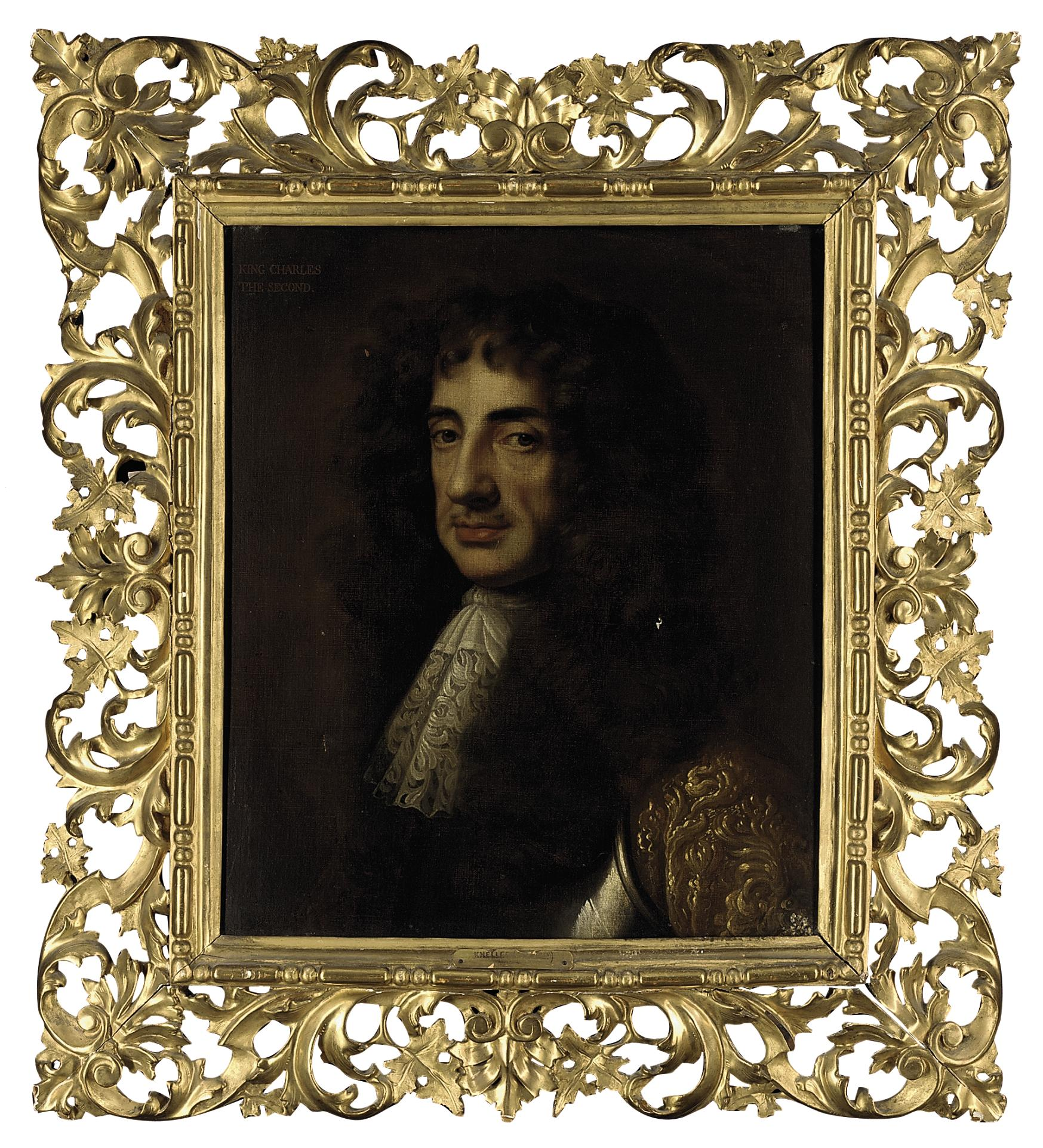 Portrait of King Charles II, bust-length, wearing a breastplate with a gold-embroidered coat and lace cravat
