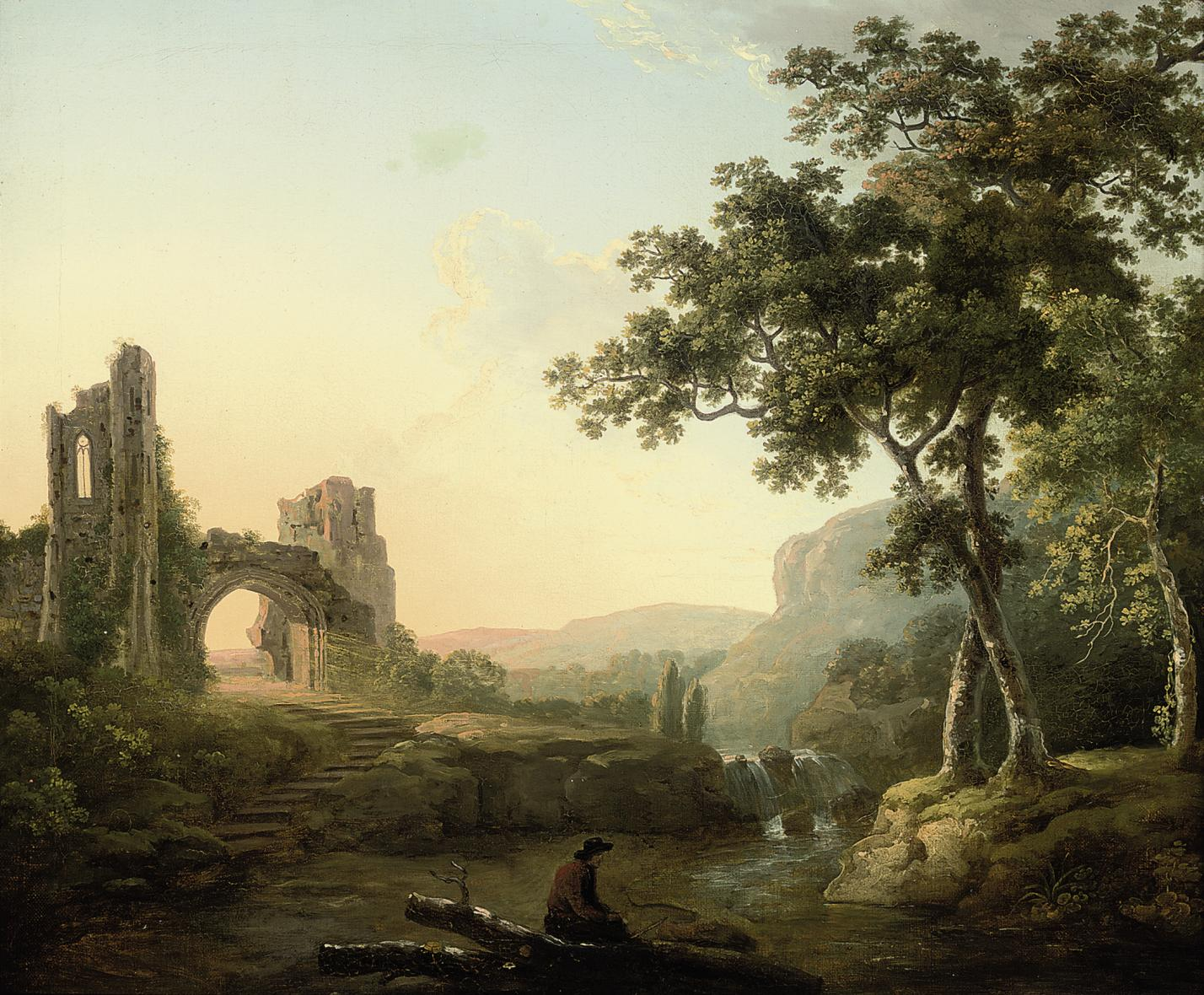 A wooded river landscape with a man and his dog by a waterfall, ruins beyond