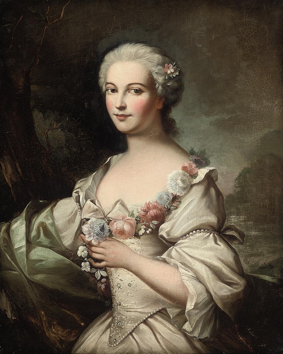 Portrait of a lady, half-length, in a white dress with pearl ornaments and a garland of flowers, a landscape beyond