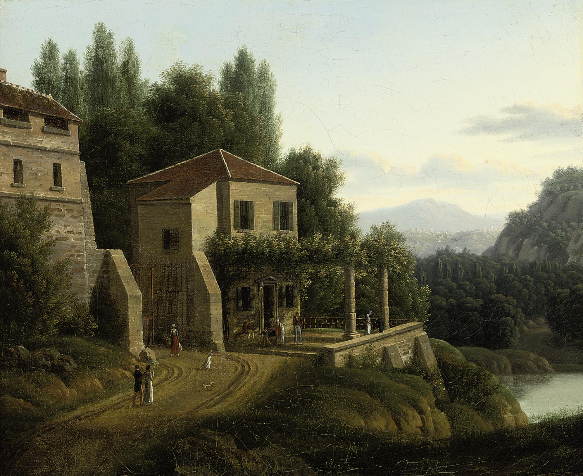 An Italianate river landscape with elegant company before a villa