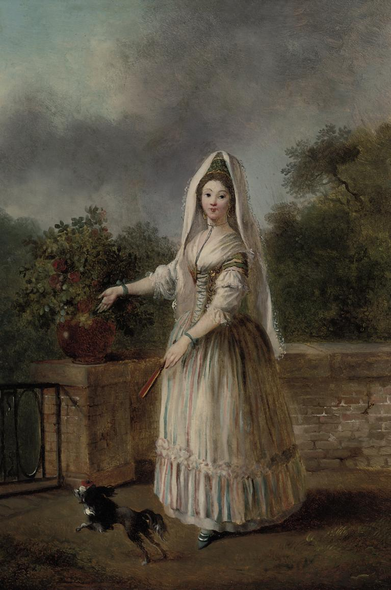 Portrait of a lady, full-length, in masquerade dress, on a terrace with a spaniel
