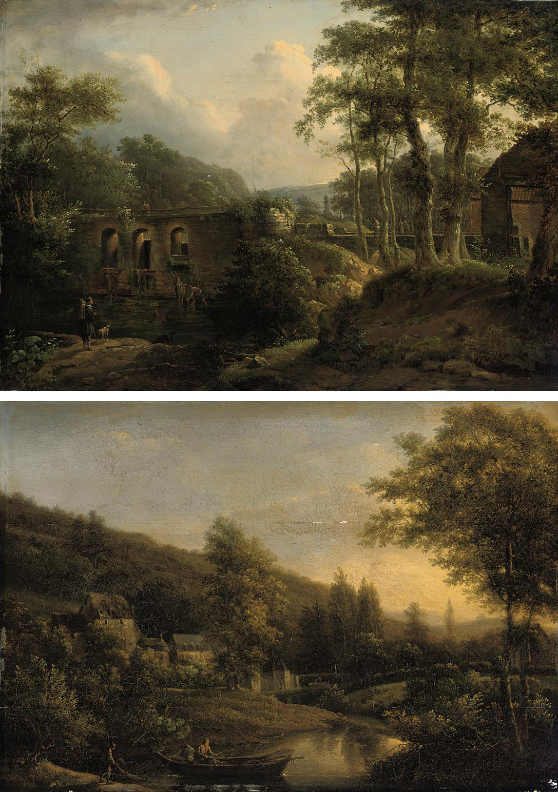 A river landscape with figures before a bridge; and A river landsape with figures and a fishing boat in the foreground