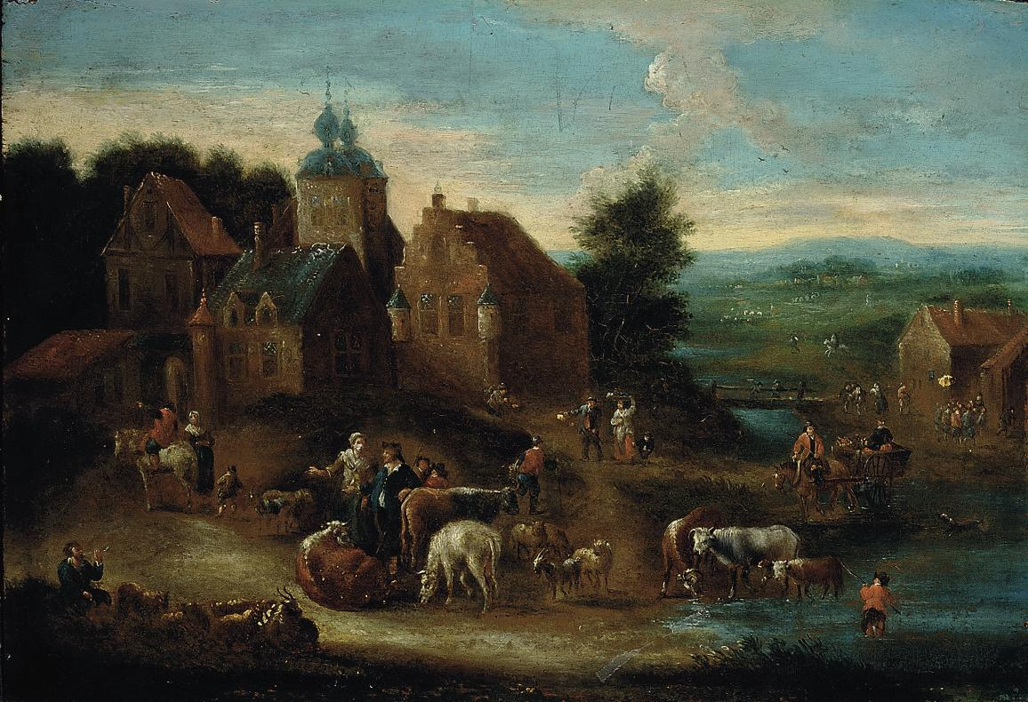A river landscape with herdsmen and their cattle on a track, a village beyond