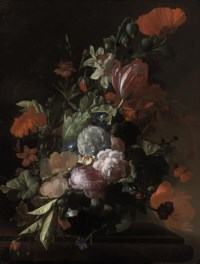 Parrot tulips, poppies, roses, morning glory, narcissi and other flowers in a glass vase, with acorns and a snail on a stone ledge