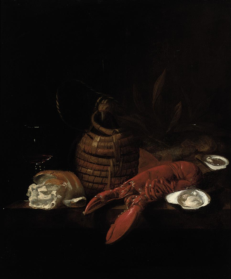 A lobster, oysters, a bread roll, a wine glass and a glass jug on a ledge