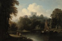 A view of the River Weir with an angler on a bank, Durham cathedral beyond