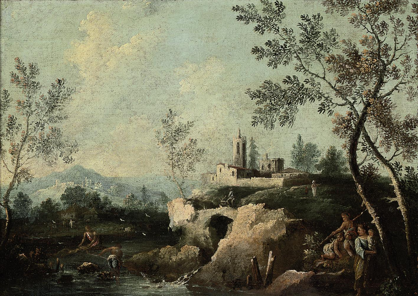 A wooded river landscape with peasants, a village beyind