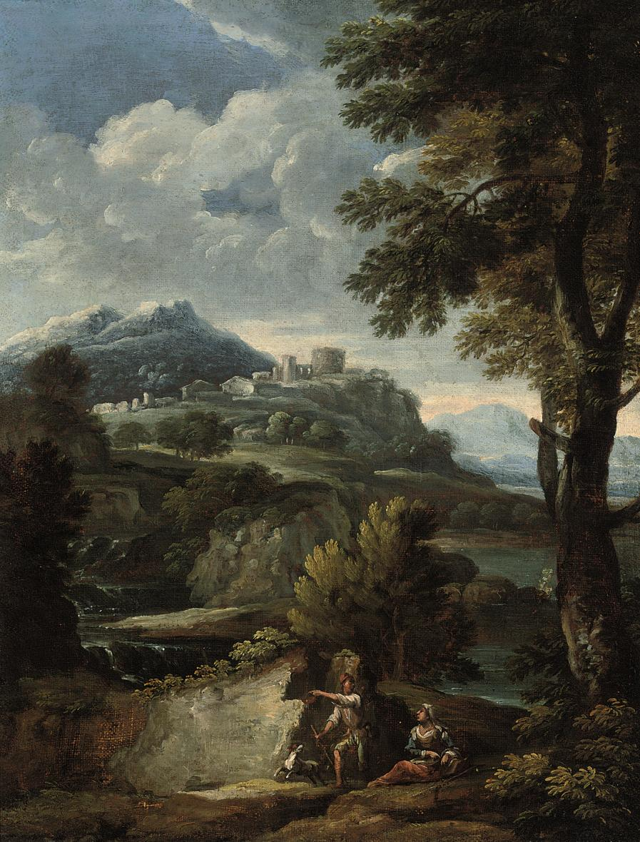 An Italianate wooded river landscape with shepherds and their dog by a waterfall, ruins beyond