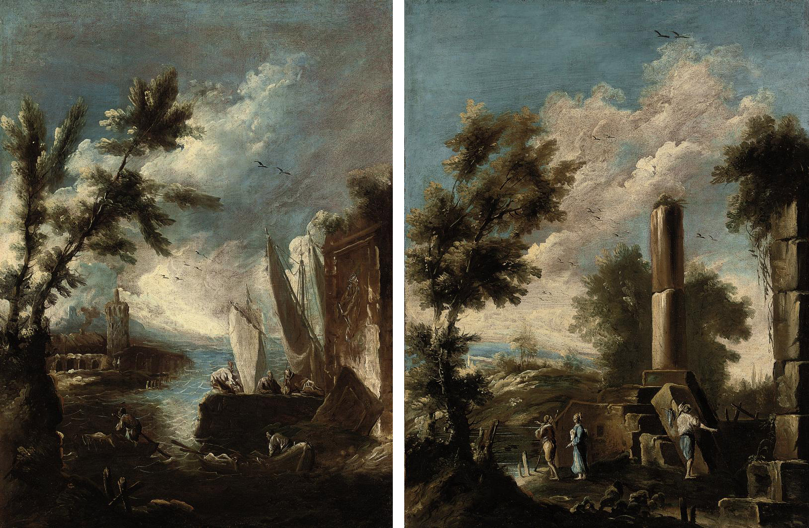 A wooded landscape with figures amongst ruins; and A coastal landscape with figures by a boat