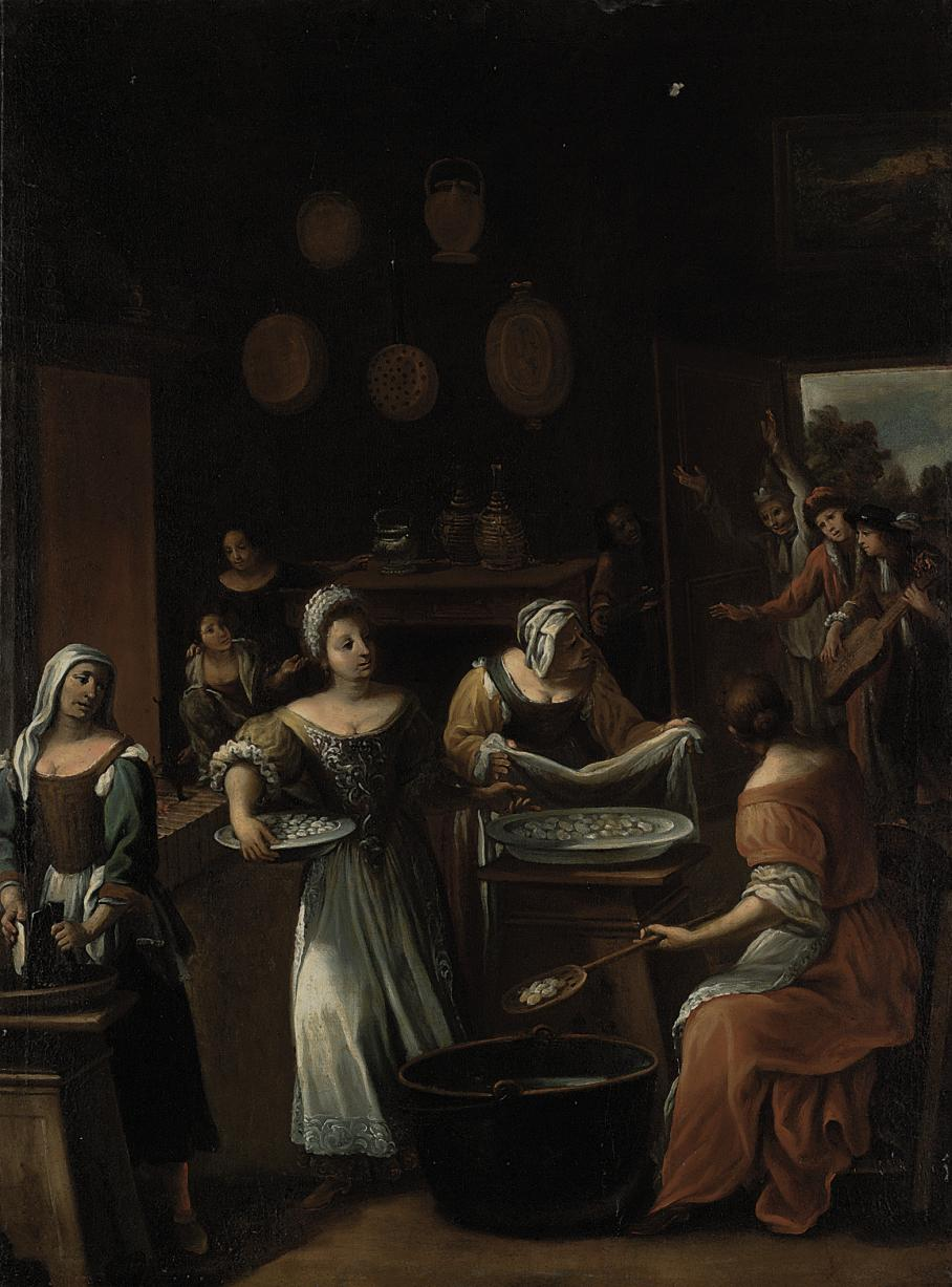The Gnocchi Bakery: The interior of a kitchen with women preparing gnocchi, a group of revellers entering from the garden beyond