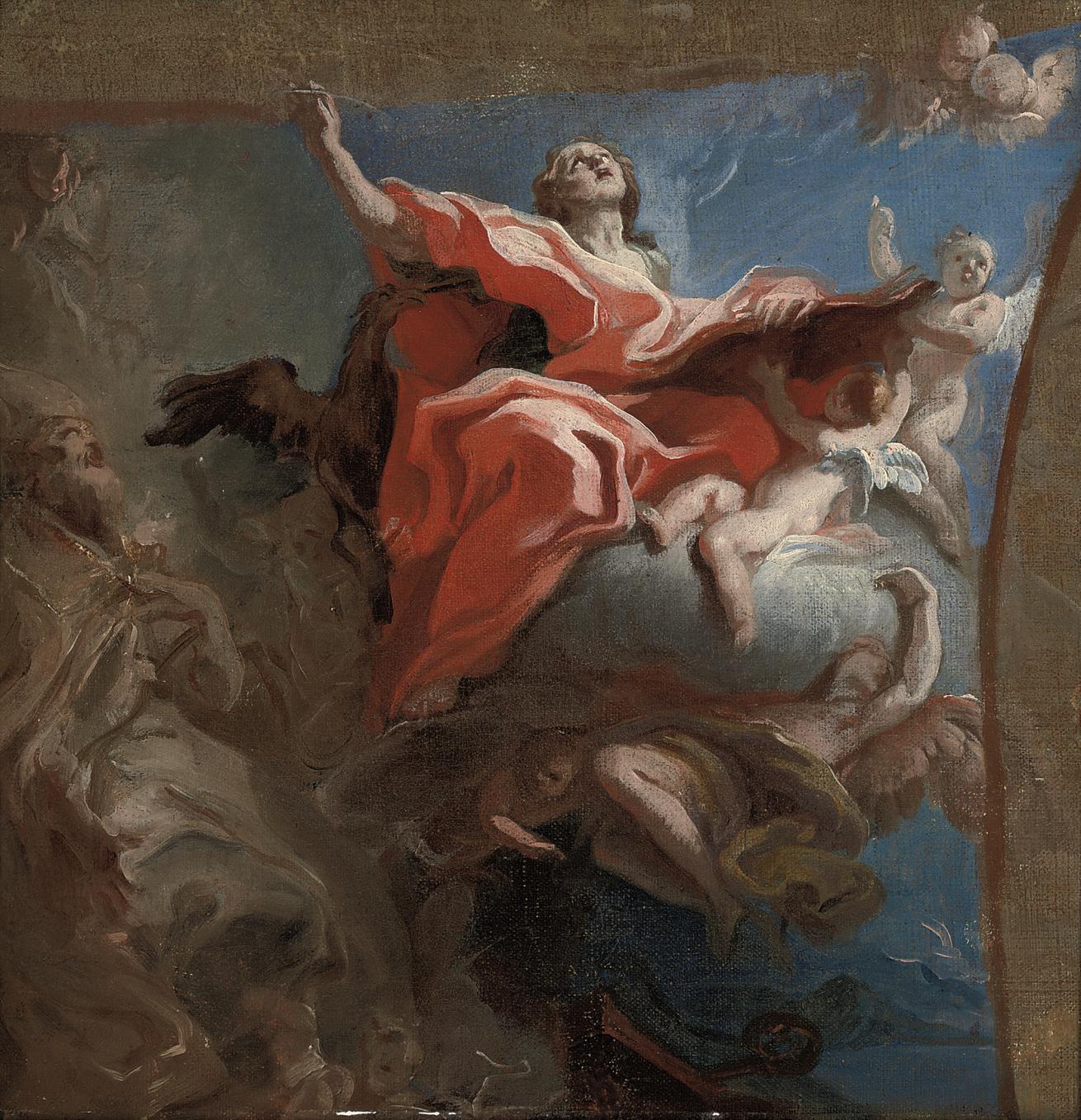 Saint John the Evangelist and Saint Augustine of Hippo: a bozzetto