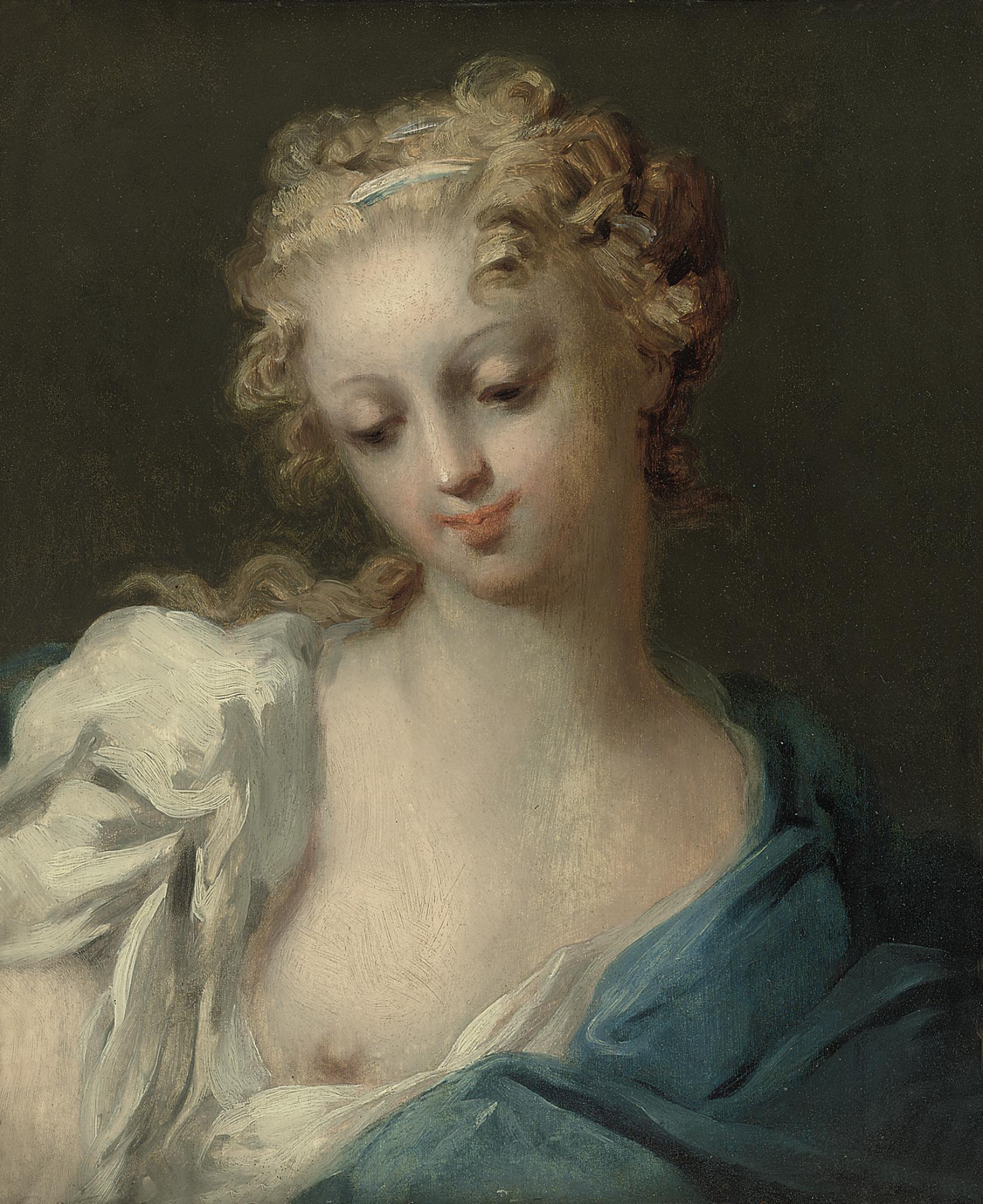 Sketch of a lady en déshabillé in a white chemise and blue wrap