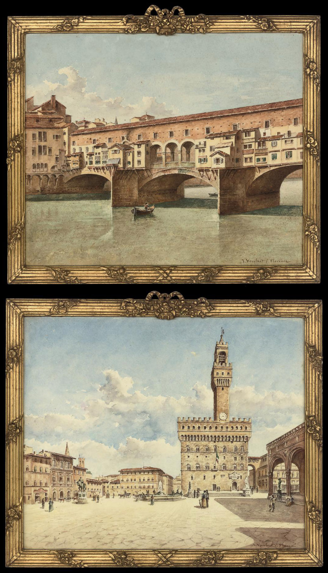 The Ponte Vecchio, Florence; and The Palazzo Vecchio, Florence