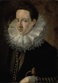 Portrait of a gentleman, bust-length, in a black jacket with a lace ruff, his right hand resting on the hilt of a sword