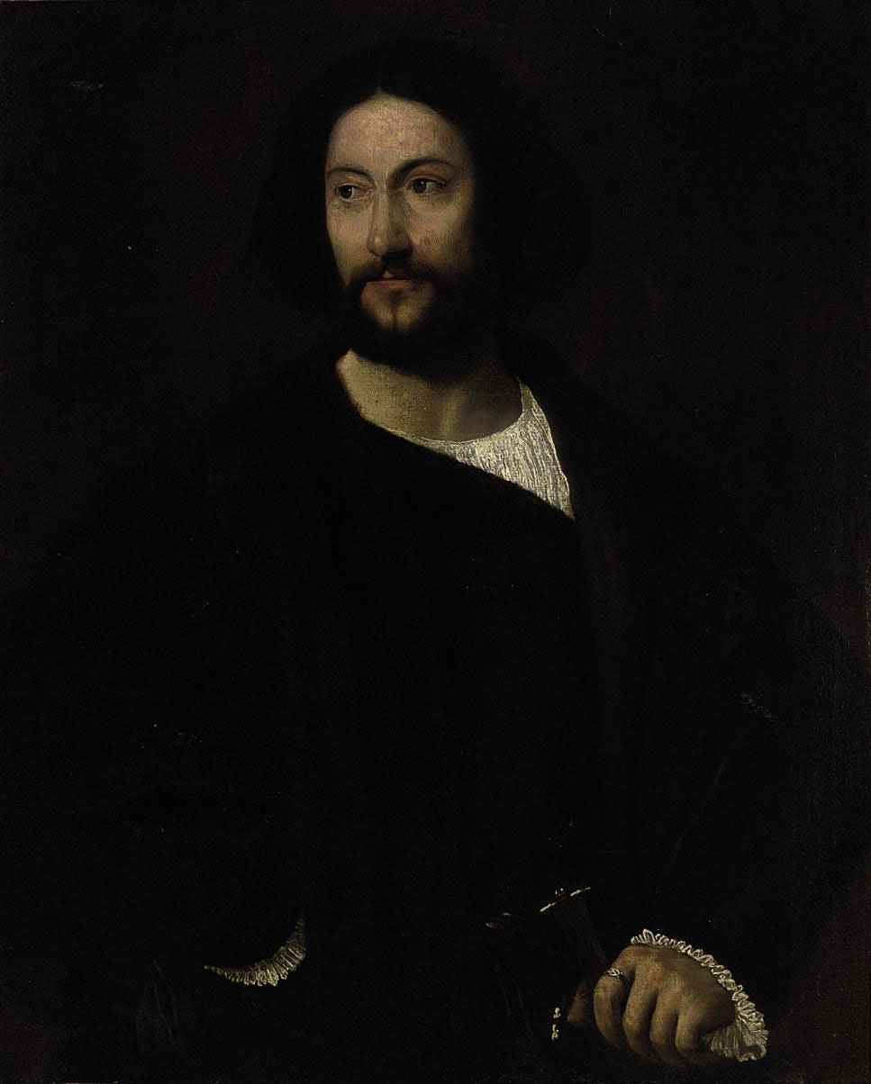 Portrait of a gentleman, half-length, in black, his left hand resting on the hilt of a sword