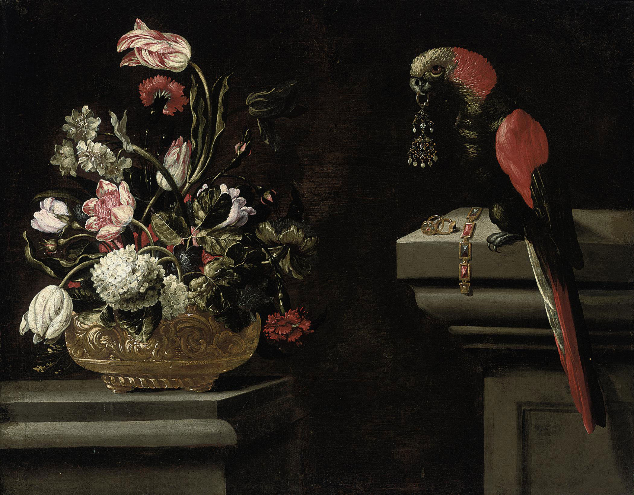 Parrot tulips, hydrangeas, carnations and other flowers in an urn with a parrot holding an earring in its beak on a ledge