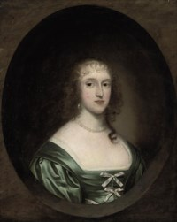 Portrait of a lady, traditionally identified as Lady Bowyer (d. 1665), bust-length, in a green dress with ribbons and a pearl necklace, in a sculpted cartouche