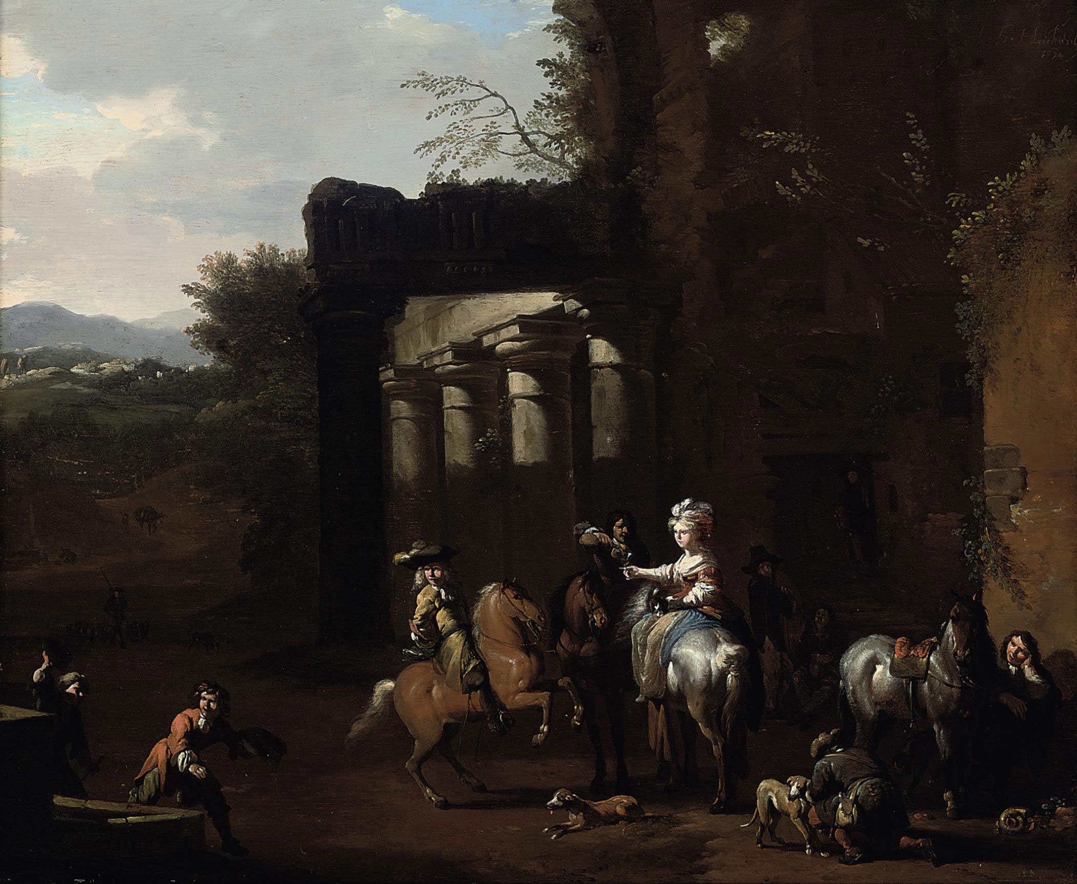 A hunting party at rest beside classical ruins