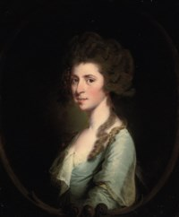 Portrait of a lady, bust-length, in a blue dress, in a feigned oval