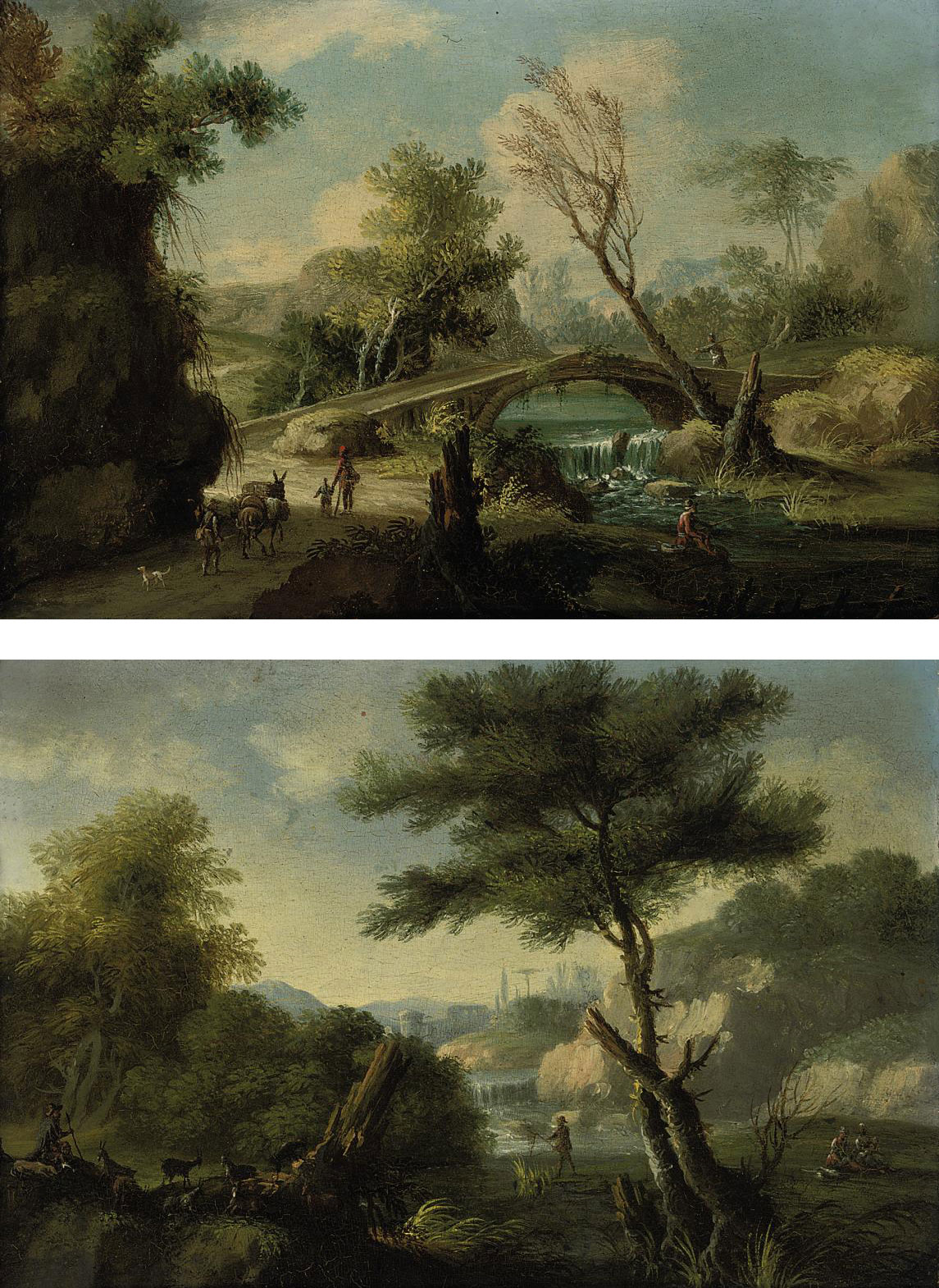 A wooded river landscape with travellers approaching a bridge and an angler seated on a bank; and A wooded river landscape with a drover and his herd at rest, a fisherman with his net on a bank
