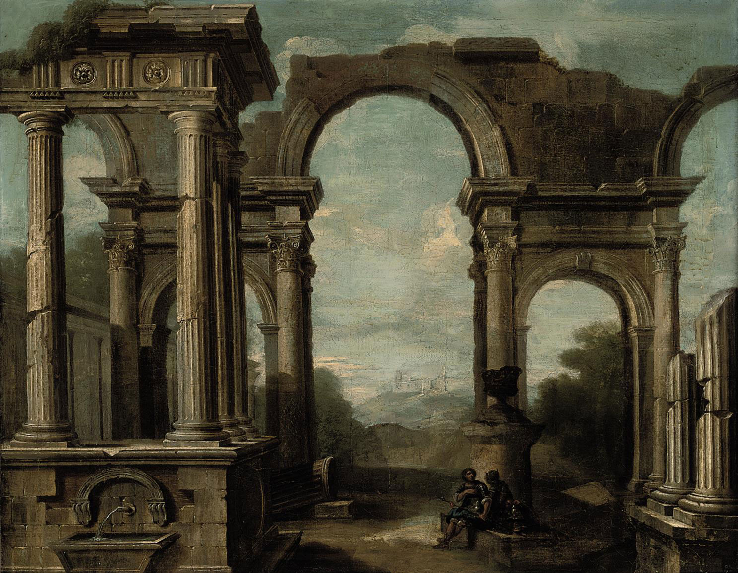 An architectural capriccio with figures beneath an arch