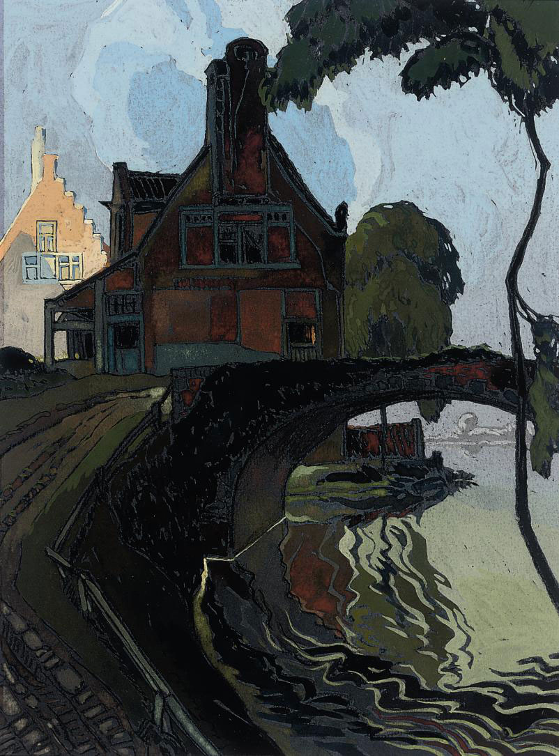 A mill by a bridge