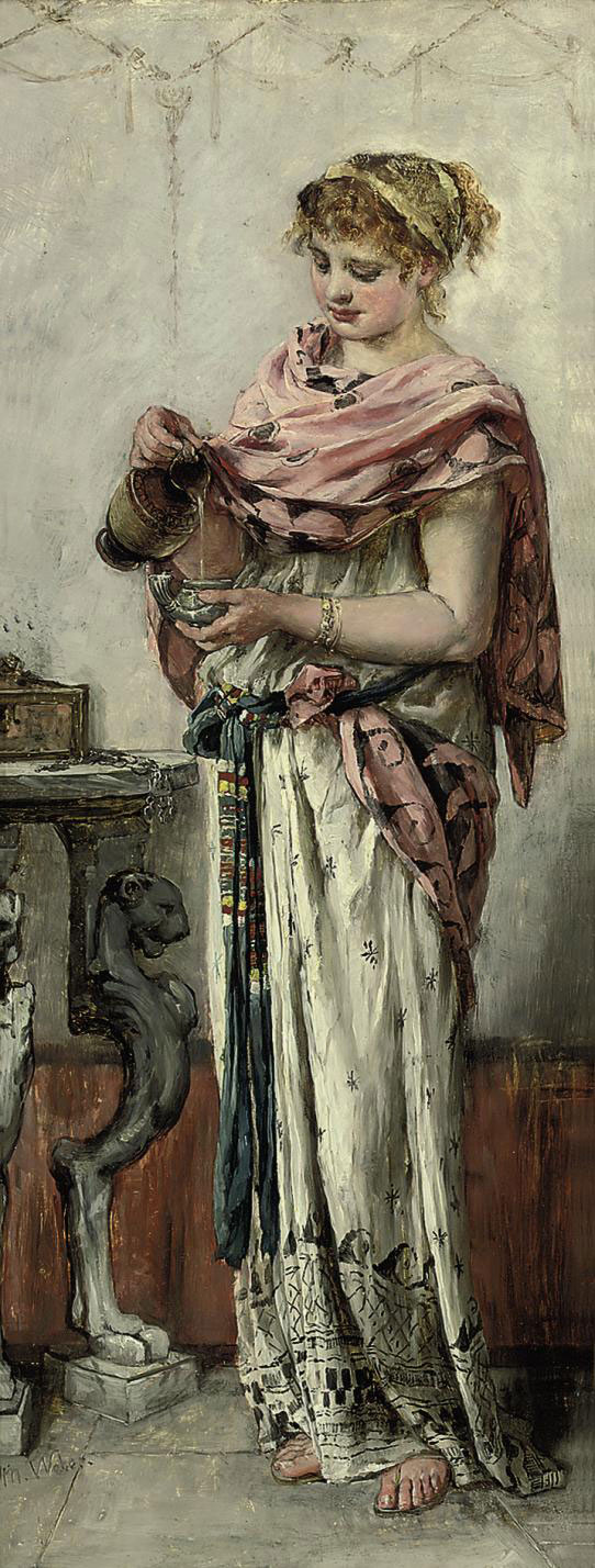 A maiden pouring wine