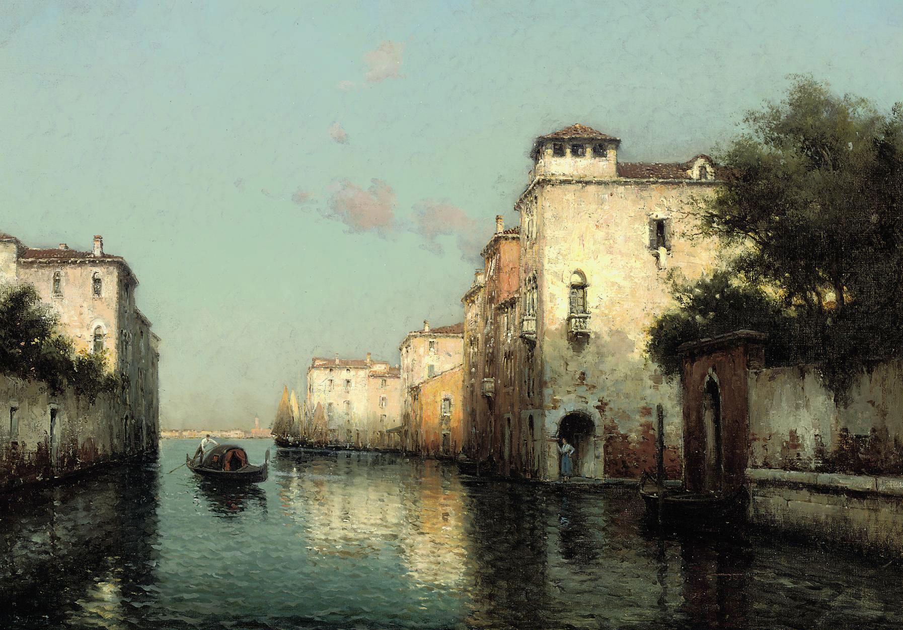 A GONDOLIER ON A VENETIAN BACKWATER, THE CAMPANILE IN THE DISTANCE