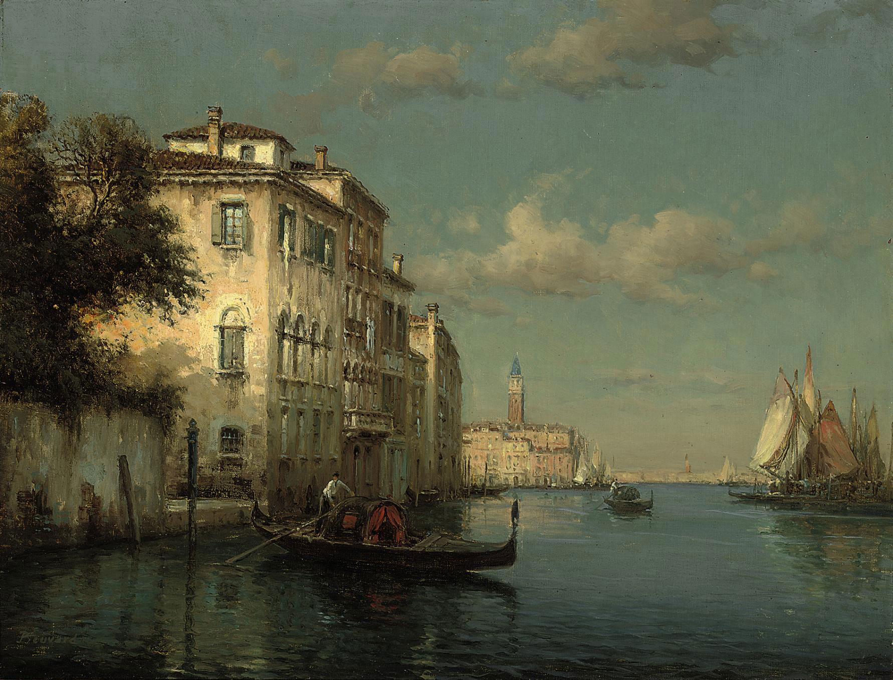 GONDOLIERS ON THE GRAND CANAL, VENICE