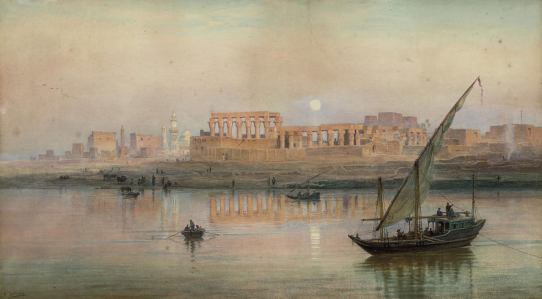 A view of Luxor on the Nile, with Karnak