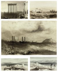 The six pillars at Baalbek, Lebanon; A distant view of Baalbek with military manoeuvres; The ruins at Soli, Turkey; Arabs resting at Capernaum; and Goatherders before a fortified town on the Lake of Tiberius