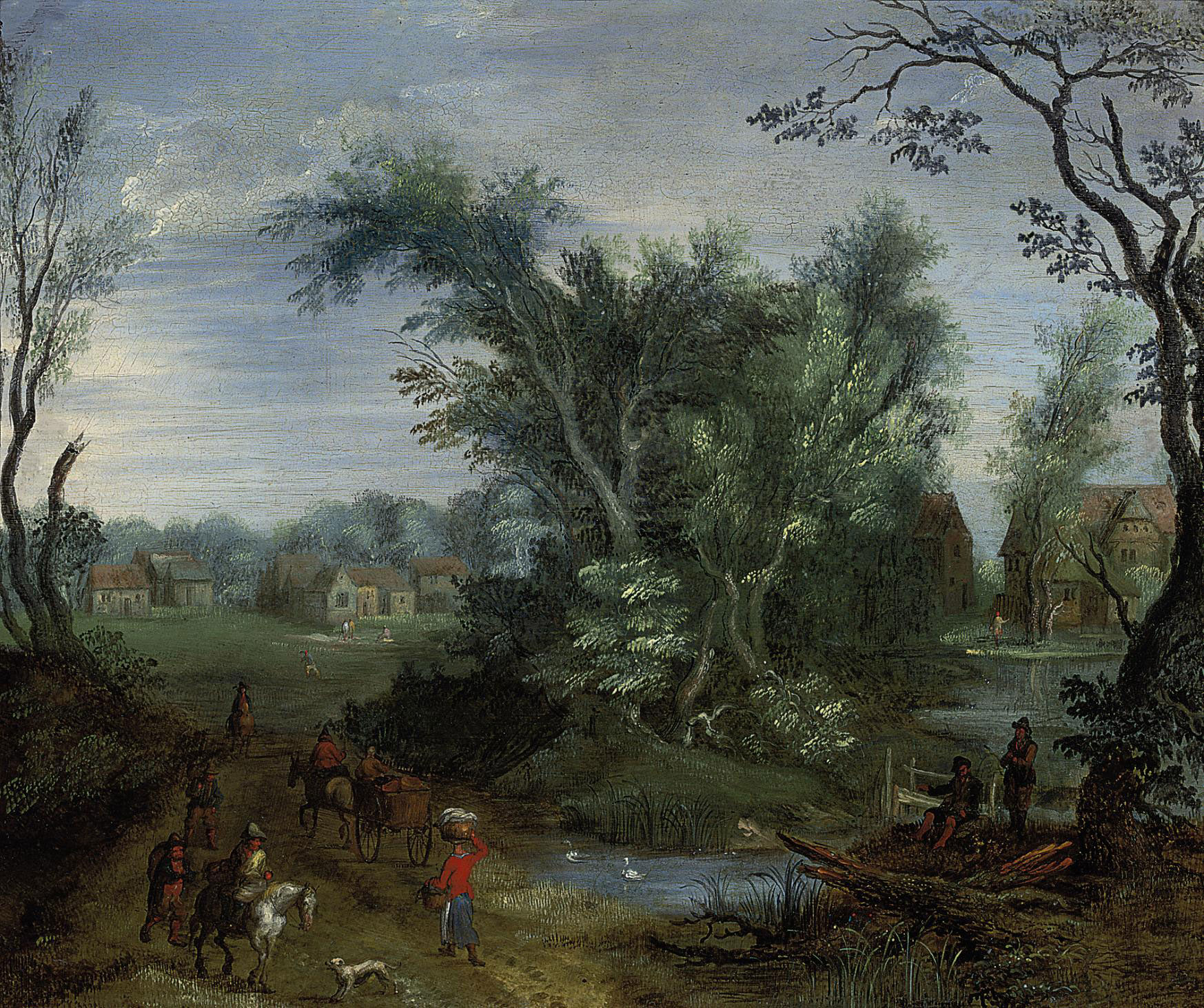 A wooded river landscape with peasants on a track, a village beyond