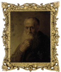 Portrait of an old man, bust-length, in a brown coat
