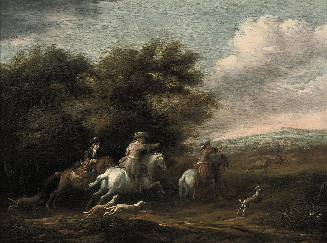A wooded landscape with a hunting party