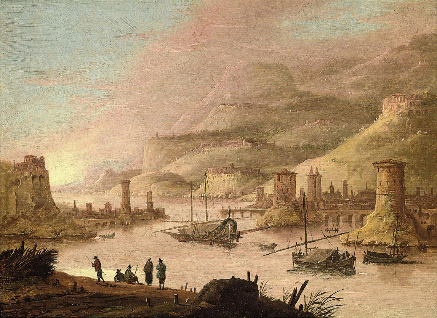 A mountainous river landscape with figures on a bank, a town beyond