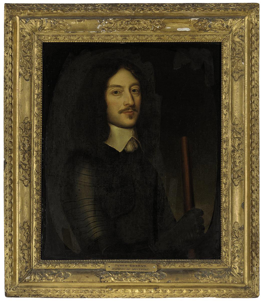 Portrait of James Graham, 1st Marquess of Montrose (1612-1650), half-length, in armour, holding a baton of command, in a feigned oval