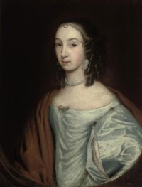 Portrait of a lady, half-length, in a blue dress with a red wrap and pearls, in a feigned oval