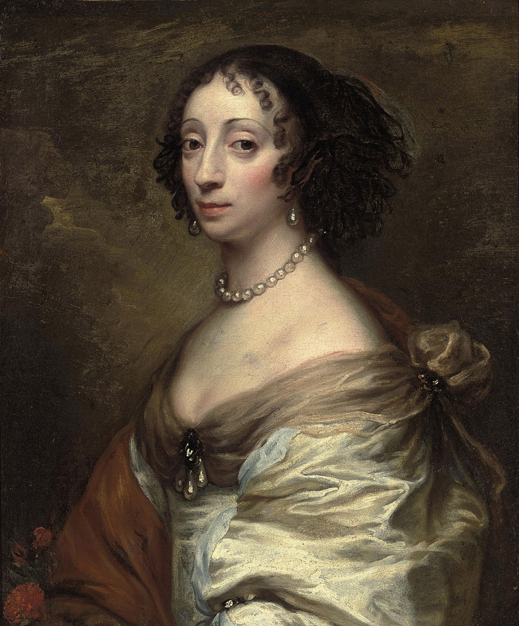 Portrait of a lady, bust-length, in a white satin dress, with a broach and pearls, a red flower in the foreground