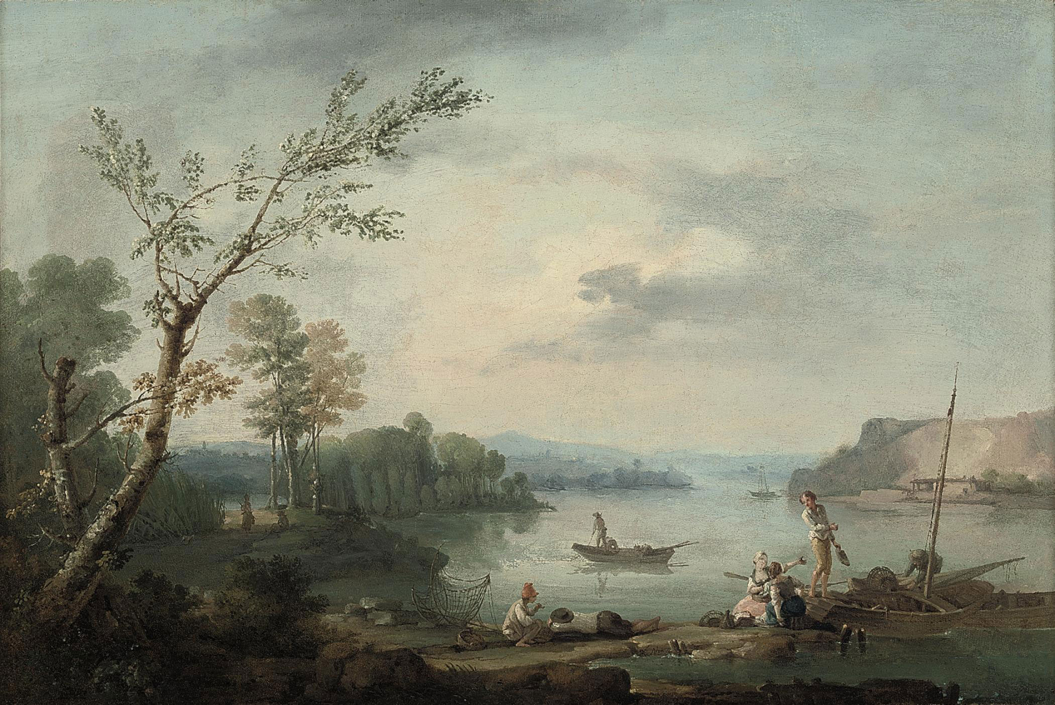 A wooded river landscape with fisherfolk