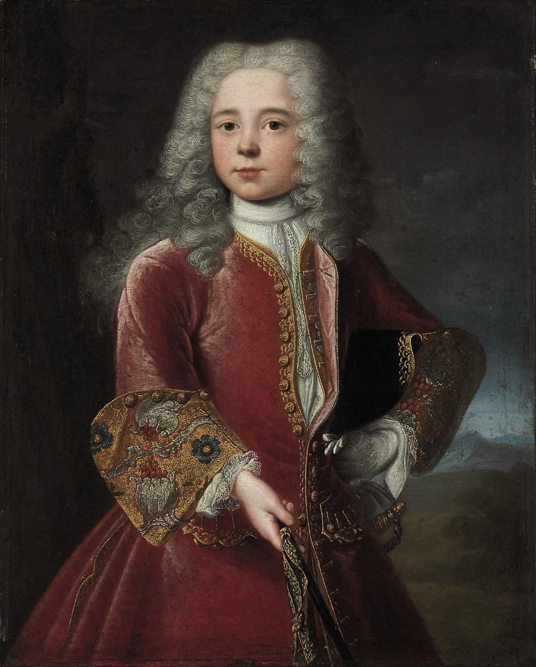 Portrait of a young man, three-quarter-length, in a red tunic with gold embroidered sleeves, a landscape beyond