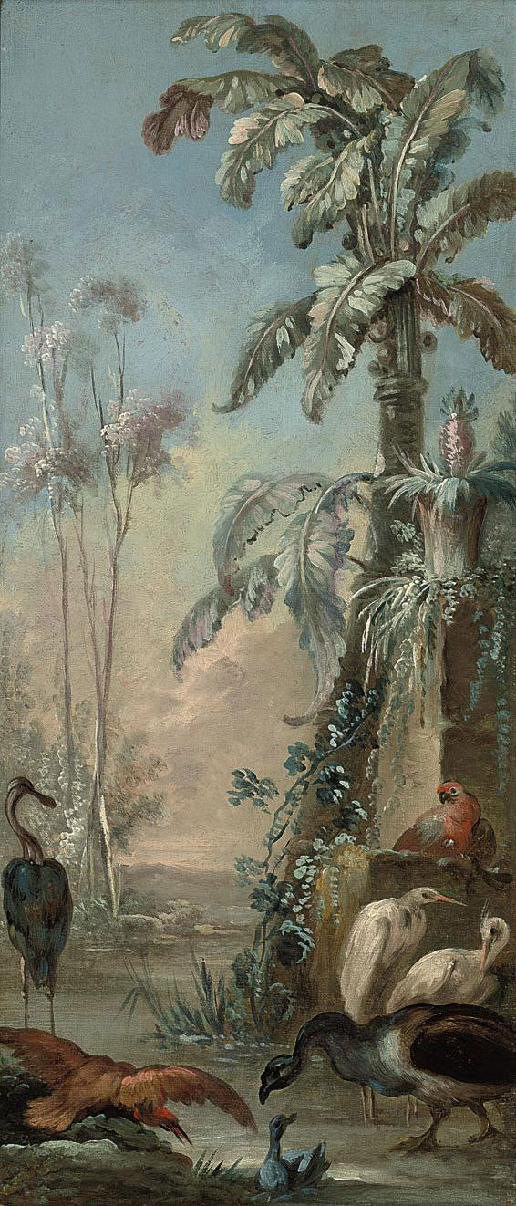 A parrot, cranes and other birds in a tropical landscape