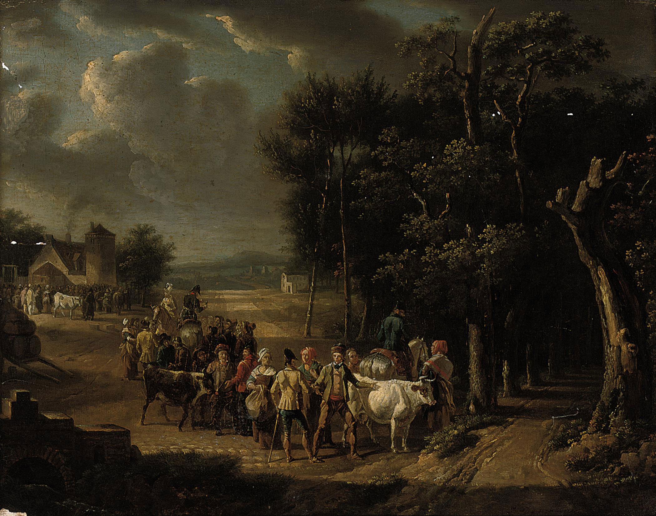 A wooded landscape with officers on horseback, cattle, and figures conversing on a track